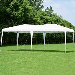 Tangkula 10'X20′ EZ POP UP Tent Wedding Party Canopy Shelter with Carry Bag (White)