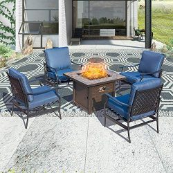 Patio Festival ® Outdoor Patio Conversation Set CSA Certification 50,000 BTU Fire Pit Table Sets ...
