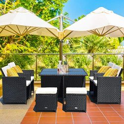 Tangkula 9 Pieces Patio Dining Sets, Outdoor Wicker Rattan Sofas and Tempered Glass Table Sectio ...