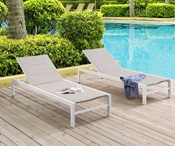 Ulax Furniture Patio Outdoor Aluminum Chaie Lounge Chair Adjustable Recliner with Wheels and Qui ...