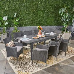 Great Deal Furniture Austin Outdoor 9 Piece Wood and Wicker Expandable Dining Set, Dark Gray and ...