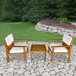 FDW 3-Piece Acacia Wood Patio Bistro Set Outdoor Chat Conversation Table Chair Set with Water Re ...