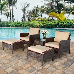 U-MAX 5 Pieces Patio Furniture Set Outdoor Chair and Ottoman Set with Cushions & Side Table, ...