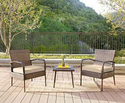 Homewell 3pc Wicker Patio Furniture Set Cushioned Chairs & Table Lounge (Brown)