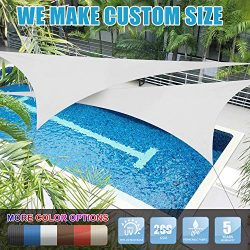 Amgo 16′ x 16′ x 16′ White Triangle Sun Shade Sail Canopy Awning, 95% UV Block ...