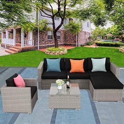 Furnimy 6 Pieces Outdoor Patio Conversation Set Wicker Sofa Gray Rattan with Glass Top Table and ...