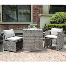 OC Orange-Casual 3 Piece Patio Wicker Outdoor Furniture Set, Rattan Conversation Set, Space Savi ...
