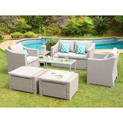 COSIEST 7-Piece Outdoor Patio Furniture Conversation Set All-Weather Wicker Sectional Sofa w Thi ...