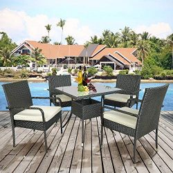 Merax Patio Dining Table Set Outdoor Furniture PE Rattan Wicker Conversation Set