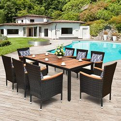 Tangkula 9 Piece Outdoor Dining Set, Garden Patio Wicker Set w/Cushions, Patio Wicker Furniture  ...