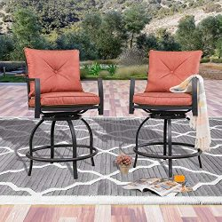 LOKATSE HOME Patio Height Chair Set of 2 Outdoor Swivel Bar Stools with Seat and Back, 2, Red Cu ...