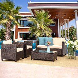 Wisteria Lane Outdoor Patio Furniture Set,5 Piece Patio Seating Wicker Conversation Set with Cus ...