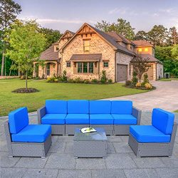 Mcombo Gray Patio Furniture Sectional Set Outdoor Wicker Conversation Sofa with 6 Chairs Coffee  ...