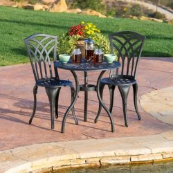Christopher Knight Home 239082 Franzburg 3pcs Outdoor Cast Aluminum Bistro Set, Black