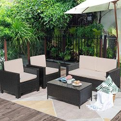Flamaker 4 Pieces Outdoor Patio Furniture Sets Outdoor Conversation Set Poolside Lawn Chairs wit ...
