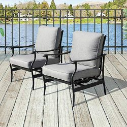 Patio Festival 2 PC Outdoor Padded Conversation Set,Patio Furniture Sets Modern Bistro Cushioned ...