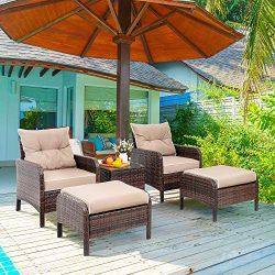 Viogarden 5 Piece Patio Conversation Set, Small Outdoor Patio Chair Set Furniture, PE Wicker Was ...