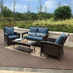 PHI VILLA 4 PC Patio Wicker Sofa Set Outdoor Rattan Furniture Conversation Set with Coffee Table ...
