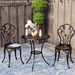 Kinger Home 3 Piece Patio Bistro Table Set Outdoor Furniture Cast Aluminum Antique Copper Bronze ...