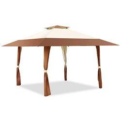 Tangkula Gazebo 13′ x 13′, Pop Up Gazebo Tent, Suitable for Patio and Garden, Outdoo ...
