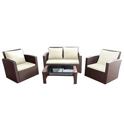Panana Rattan Patio Furniture Set 4 Pieces Wicker Garden Table and Chairs Sofa Conversation Outd ...