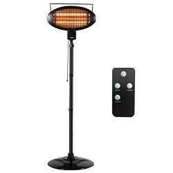 COSTWAY Electric Patio Quartz Heater with Remote Control, 1500W Halogen Freestanding Heater with ...