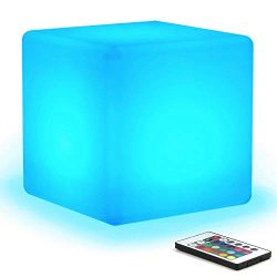 [16 RGB Colors 4 Modes] Mr.Go Waterproof Rechargeable LED Color-changing Light Cube 8″ | D ...