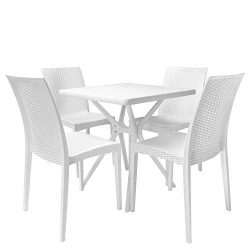 Rimdoc Garden Dining Set Patio Table with 4 Chairs White Outdoor Furniture Waterproof Mid Centur ...