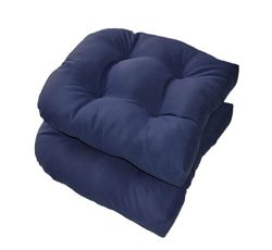 Set of 2 – Universal Tufted U-shape Cushions for Wicker Chair Seat – Solid Navy Blue ...