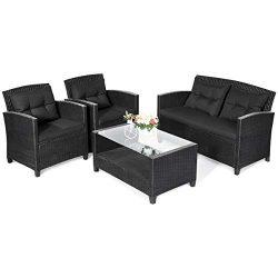 Tangkula 4 PCS Patio Conversation Set, Outdoor Rattan Sectional Sofa Set, Comfortable Thick Cush ...