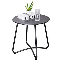 CaiFang Patio Metal Side Table, Round Small Portable Weather Resistant Outdoor Coffee Table Perf ...