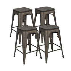 Bonzy Home Metal Bar Stools Set of 4, 24 inches Indoor Outdoor Bar Stools with Wood Seat, High B ...