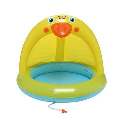 ☀ Dergo ☀Swim Ring,Baby Pool, Duckling Pool With Canopy, Spray Pool Of 40In, Water Sprinkler