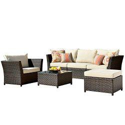 ovios Patio Furniture Set, Backyard Sofa Outdoor Furniture 6 Pcs Sets,PE Rattan Wicker sectional ...