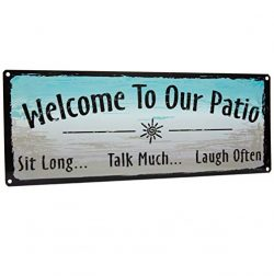 Homazing Rustic Metal Sign – Welcome to Our Patio Sign – Patio Wall Art, Outdoor Wal ...