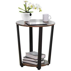 shamoluotuo Industrial End Table Round Chair Side Table Vintage Night Stand with Storage Shelf C ...