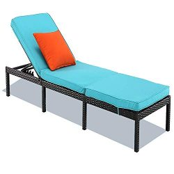 HTTH Rattan Chaise Lounge Outdoor Patio Chairs All-Weather Sun Chaise Lounge Furniture for Backy ...
