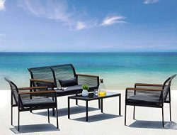 Suntone Patio Furniture Sofa Set – Wicker Patio Conversation Set (4 Piece)