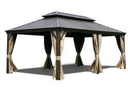 Kozyard Alexander Hardtop Aluminum Permanent Gazebo with a Mosquito Net and Privacy Sidewalls (A ...