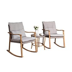 COSIEST 3-Piece Outdoor Patio Furniture Faux Woodgrain Rocking Chairs Seat 18″ H w Warm Gr ...