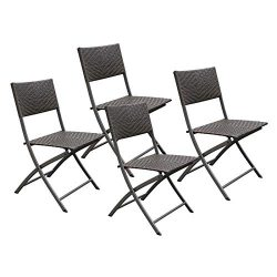 HL Patio 4-Pack Folding Chairs, Portable for Outdoor Camping, Beach, Deck Dining, Espresso Brown ...