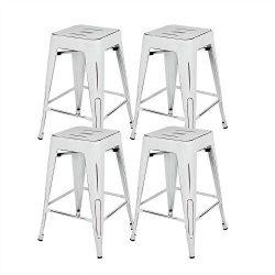 Bonzy Home Bar Stools Set of 4, 24 inch Backless Metal Barstools, Distressed Designed, Stackable ...