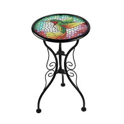 Liffy Mosaic Hummingbird Outdoor Side Table Round Printed Glass Desk for Garden, Patio or Lawn