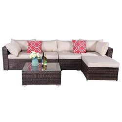 OAKVILLE FURNITURE 61116 6-Piece Made in USA Outdoor Sectional Sofa Rattan Patio Furniture Sets  ...