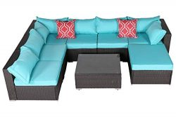 Do4U Patio Sofa 8-Piece Set Outdoor Furniture Sectional All-Weather Wicker Rattan Sofa Turquoise ...