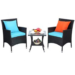 Do4U Outdoor Furniture Sets 3 Pieces Patio Wicker Bistro Set with Coffee Table Garden Lawn Dinin ...