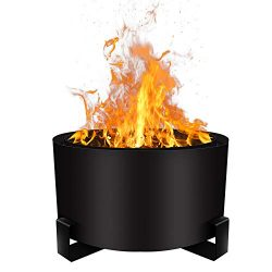 Urban Deco Patio Fire Pit Bonfire Pit Large 23.6 Inch Outdoor Smokeless Firepit Wood Burning Low ...