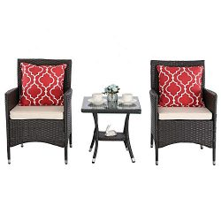 Furnimy 3 Pieces Outdoor Wicker Table and Chairs Set Rattan Patio Furniture Set Expresso with Cu ...