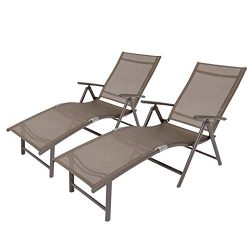 Crestlive Products Aluminum Beach Yard Pool Folding Recliner Adjustable Chaise Lounge Chair All  ...
