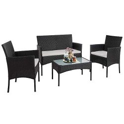 SUNLEI 4 Piece Rattan Patio Furniture Set, Garden Lawn Pool Backyard Outdoor Sofa Wicker Convers ...